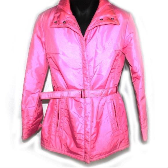 Head Jackets   Blazers - 1980s belted ski jacket hot pink 80s coat 1168efa57